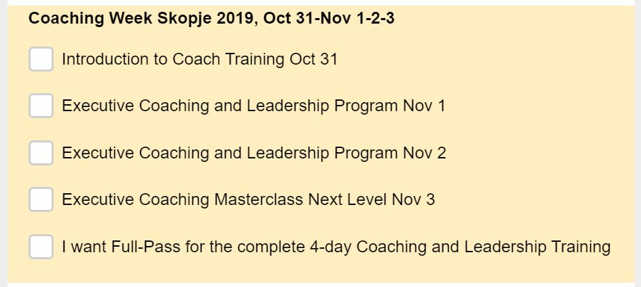 Executive Coaching and Leadership Week Skopje 2019